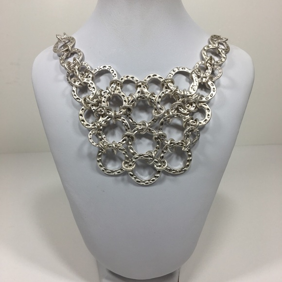 """Jewelry - Hammered Loops Bib Necklace 18"""""""